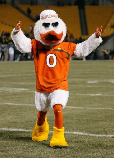Nov 29, 2013; Pittsburgh, PA, USA; Miami Hurricanes mascot celebrates a touchdown against the Pittsburgh Panthers during the fourth quarter at Heinz Field. Miami won 41-31. Mandatory Credit: Charles LeClaire-USA TODAY Sports