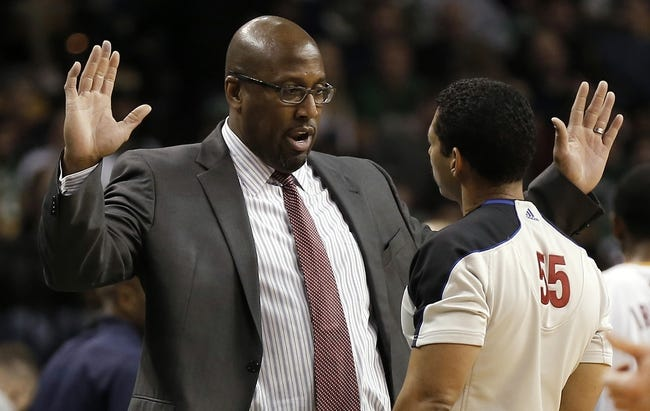 Nov 29, 2013; Boston, MA, USA; Cleveland Cavaliers head coach Mike Brown talsk with a referee during the second quarter against the Boston Celtics at TD Garden. Mandatory Credit: Winslow Townson-USA TODAY Sports