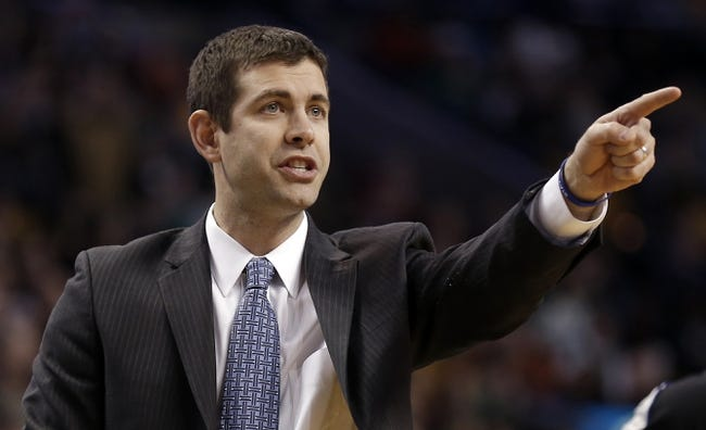 Nov 29, 2013; Boston, MA, USA; Boston Celtics head coach Brad Stevens directs his players during the second quarter against the Cleveland Cavaliers at TD Garden. Mandatory Credit: Winslow Townson-USA TODAY Sports
