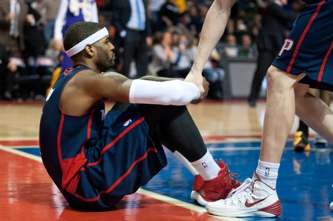 Nov 29, 2013; Auburn Hills, MI, USA; Detroit Pistons small forward Josh Smith (6) reacts after fouling Los Angeles Lakers small forward Nick Young (not pictured) during the fourth quarter at The Palace of Auburn Hills. Lakers won 106-102. Mandatory Credit: Tim Fuller-USA TODAY Sports