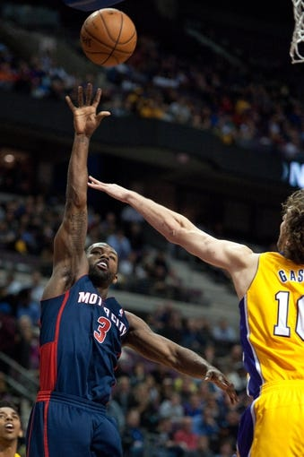 Nov 29, 2013; Auburn Hills, MI, USA; Detroit Pistons shooting guard Rodney Stuckey (3) during the fourth quarter against the Los Angeles Lakers at The Palace of Auburn Hills. Lakers won 106-102. Mandatory Credit: Tim Fuller-USA TODAY Sports