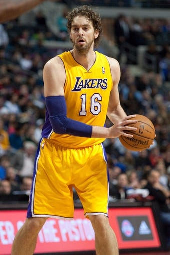 Nov 29, 2013; Auburn Hills, MI, USA; Los Angeles Lakers center Pau Gasol (16) during the first quarter against the Detroit Pistons at The Palace of Auburn Hills. Mandatory Credit: Tim Fuller-USA TODAY Sports