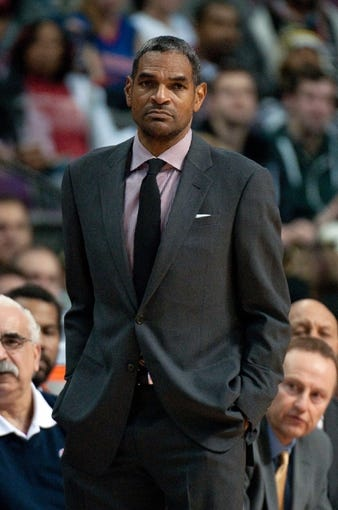 Nov 29, 2013; Auburn Hills, MI, USA; Detroit Pistons head coach Maurice Cheeks during the third quarter against the Los Angeles Lakers at The Palace of Auburn Hills. Lakers won 106-102. Mandatory Credit: Tim Fuller-USA TODAY Sports