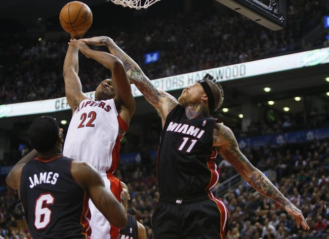 Nov 29, 2013; Toronto, Ontario, CAN; Miami Heat forward-center Chris Andersen (11) defends against Toronto Raptors forward Rudy Gay (22) during the first half at the Air Canada Centre. Mandatory Credit: John E. Sokolowski-USA TODAY Sports