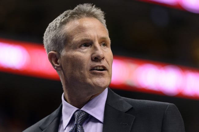 Nov 29, 2013; Philadelphia, PA, USA; Philadelphia 76ers head coach Brett Brown during the third quarter against the New Orleans Pelicans at the Wells Fargo Center. The Pelicans defeated the Sixers 121-105. Mandatory Credit: Howard Smith-USA TODAY Sports
