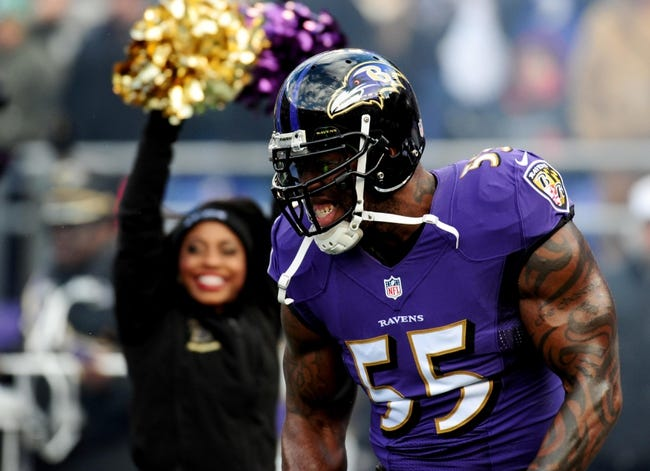 Nov 24, 2013; Baltimore, MD, USA; Baltimore Ravens linebacker Terrell Suggs (55) gets introduced prior to the game against the New York Jets at M&T Bank Stadium. Mandatory Credit: Evan Habeeb-USA TODAY Sports