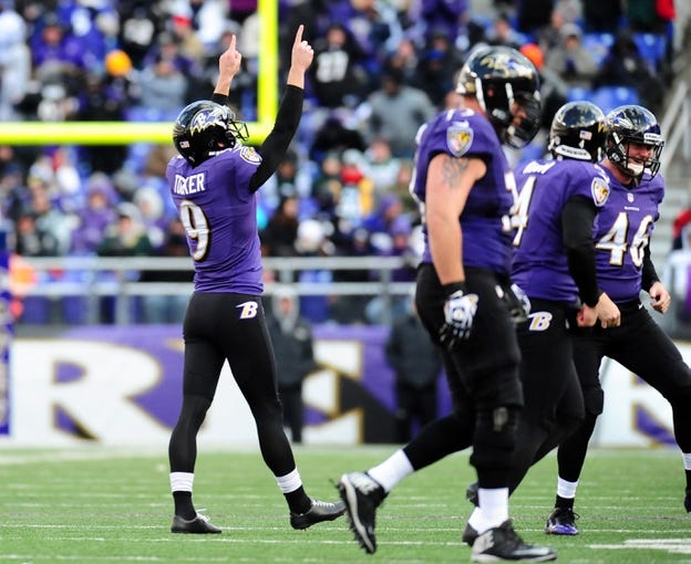 Nov 24, 2013; Baltimore, MD, USA; Baltimore Ravens kicker Justin Tucker (9) reacts after kicking a field goal during the game against the New York Jets at M&T Bank Stadium. Mandatory Credit: Evan Habeeb-USA TODAY Sports