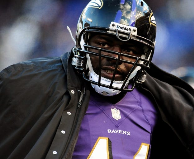 Nov 24, 2013; Baltimore, MD, USA; Baltimore Ravens fullback Vonta Leach (44) looks on during the game against the New York Jets at M&T Bank Stadium. Mandatory Credit: Evan Habeeb-USA TODAY Sports