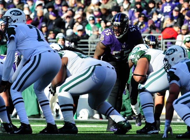 Nov 24, 2013; Baltimore, MD, USA; Baltimore Ravens linebacker Terrell Suggs (55) prepares for a play during the game against the New York Jets at M&T Bank Stadium. Mandatory Credit: Evan Habeeb-USA TODAY Sports