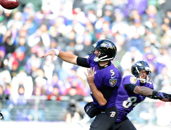 Nov 24, 2013; Baltimore, MD, USA; Baltimore Ravens quarterback Joe Flacco (5) throws a pass during the game against the New York Jets at M&T Bank Stadium. Mandatory Credit: Evan Habeeb-USA TODAY Sports