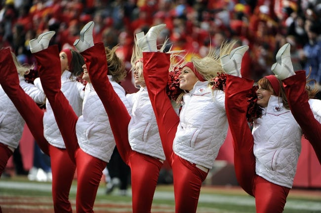 Nov 24, 2013; Kansas City, MO, USA; Kansas City Chiefs cheerleaders perform after a touchdown against the San Diego Chargers in the first half at Arrowhead Stadium. San Diego won 41-38. Mandatory Credit: John Rieger-USA TODAY Sports