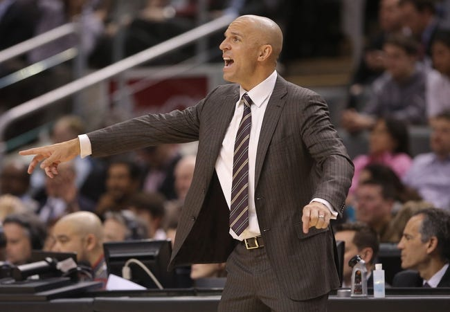 Nov 26, 2013; Toronto, Ontario, CAN; Brooklyn Nets head coach Jason Kidd reacts against the Toronto Raptors at Air Canada Centre. The Nets beat the Raptors 102-100. Mandatory Credit: Tom Szczerbowski-USA TODAY Sports