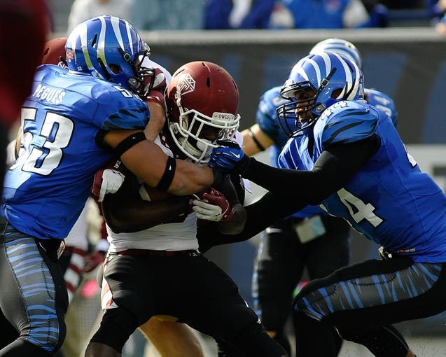 Nov 30, 2013; Memphis, TN, USA; Memphis Tigers linebacker Ryan Coleman (44) grabs the face mask of Temple Owls quarterback P.J. Walker (11) during the first quarter at Liberty Bowl Memorial. Mandatory Credit: Justin Ford-USA TODAY Sports