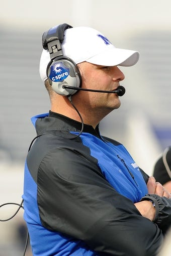Nov 30, 2013; Memphis, TN, USA; Memphis Tigers head coach Justin Fuente during the third quarter against the Temple Owls at Liberty Bowl Memorial. Mandatory Credit: Justin Ford-USA TODAY Sports