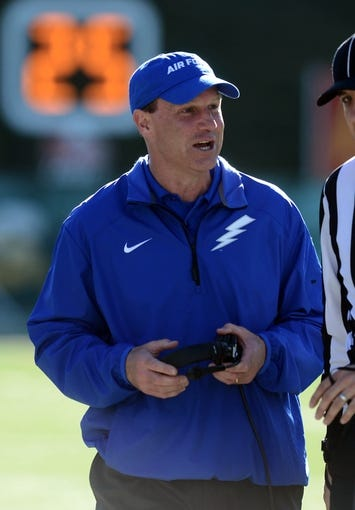 Nov 30, 2013; Fort Collins, CO, USA; Air Force Falcons head coach Troy Calhoun on his sidelines in the first quarter against the Colorado State Rams at Hughes Stadium. Mandatory Credit: Ron Chenoy-USA TODAY Sports