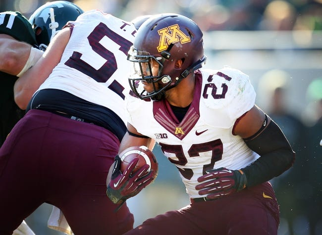 Nov 30, 2013; East Lansing, MI, USA; Minnesota Golden Gophers running back David Cobb (27) runs the ball against Michigan State Spartans during the 2nd half a game at Spartan Stadium. MSU won 14-3.  Mandatory Credit: Mike Carter-USA TODAY Sports
