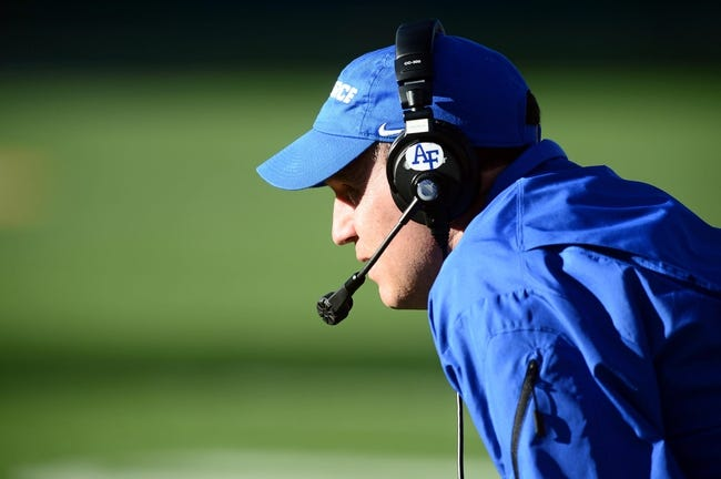 Nov 30, 2013; Fort Collins, CO, USA; Air Force Falcons head coach Troy Calhoun in the fourth quarter against the Colorado State Rams at Hughes Stadium. The Rams defeated the Falcons 58-0. Mandatory Credit: Ron Chenoy-USA TODAY Sports