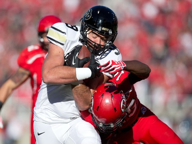 Nov 30, 2013; Salt Lake City, UT, USA; Colorado Buffaloes tight end Scott Fernandez (99) scores a touchdown after a reception during the second half against the Utah Utes at Rice-Eccles Stadium. Utah won 24-17. Mandatory Credit: Russ Isabella-USA TODAY Sports