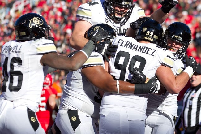 Nov 30, 2013; Salt Lake City, UT, USA; Colorado Buffaloes running back Christian Powell (46) and teammates celebrate a touchdown by tight end Scott Fernandez (99) during the second half against the Utah Utes at Rice-Eccles Stadium. Utah won 24-17. Mandatory Credit: Russ Isabella-USA TODAY Sports