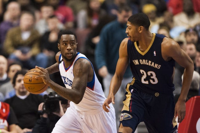 Nov 29, 2013; Philadelphia, PA, USA; Philadelphia 76ers guard Tony Wroten (8) brings the ball up court during the first quarter against the New Orleans Pelicans at the Wells Fargo Center. The Pelicans defeated the Sixers 121-105. Mandatory Credit: Howard Smith-USA TODAY Sports