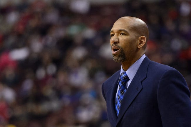 Nov 29, 2013; Philadelphia, PA, USA; New Orleans Pelicans head coach Monty Williams during the fourth quarter against the Philadelphia 76ers at the Wells Fargo Center. The Pelicans defeated the Sixers 121-105. Mandatory Credit: Howard Smith-USA TODAY Sports
