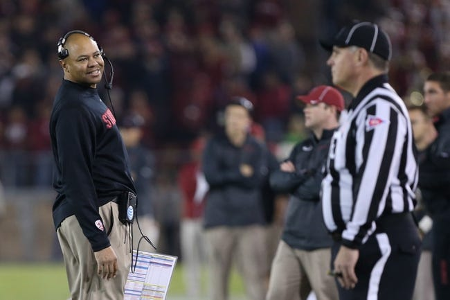 Nov 30, 2013; Stanford, CA, USA; Stanford Cardinal head coach David Shaw looks to the referee while the call is reviewed during the third quarter against the Notre Dame Fighting Irish at Stanford Stadium. The Stanford Cardinal defeated the Notre Dame Fighting Irish 27-20. Mandatory Credit: Kelley L Cox-USA TODAY Sports