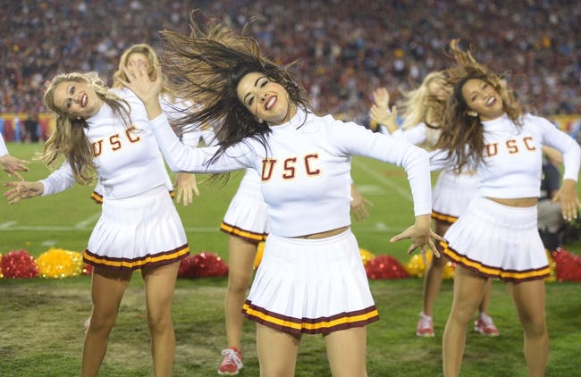 Nov 30, 2013; Los Angeles, CA, USA; Southern California Trojans song girls cheerleaders perform during the game against the UCLA Bruins at Los Angeles Memorial Coliseum. Mandatory Credit: Kirby Lee-USA TODAY Sports