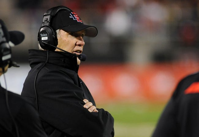 Nov 30, 2013; Las Vegas, NV, USA; San Diego State Aztecs head coach Rocky Long looks on from the sidelines during an NCAA football game against the UNLV Rebels at Sam Boyd Stadium. Mandatory Credit: Stephen R. Sylvanie-USA TODAY Sports