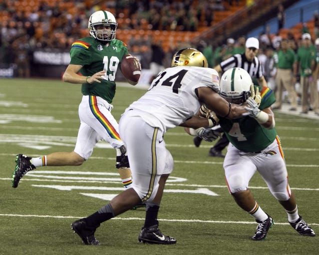 Nov 30, 2013; Honolulu, HI, USA; Hawaii Warriors quarterback Sean Schroeder (19) looks for an open receiver against the Army Black Knights during the fourth quarter at Aloha Stadium. Mandatory Credit: Marco Garcia-USA TODAY Sports