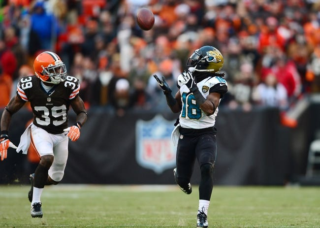 Dec 1, 2013; Cleveland, OH, USA; (EDITORS NOTE: caption correction) Jacksonville Jaguars wide receiver Ace Sanders (18) makes a catch while being defended by Cleveland Browns defensive back Tashaun Gipson (39) in the fourth quarter at FirstEnergy Stadium. Mandatory Credit: Andrew Weber-USA TODAY Sports