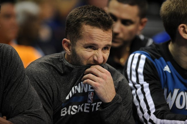 Dec 1, 2013; Oklahoma City, OK, USA; Minnesota Timberwolves point guard J.J. Barea (11) reacts to a play in action against the Oklahoma City Thunder at Chesapeake Energy Arena. Mandatory Credit: Mark D. Smith-USA TODAY Sports
