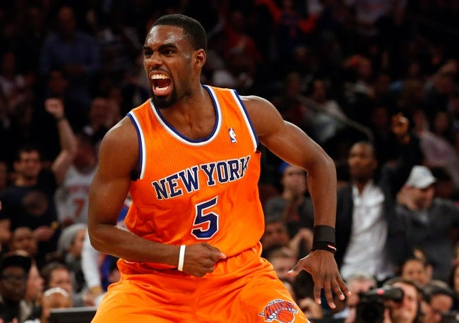 Dec 1, 2013; New York, NY, USA;  New York Knicks shooting guard Tim Hardaway Jr. (5) reacts after scoring a three point basket during the fourth quarter against the New Orleans Pelicans at Madison Square Garden. New Orleans Pelicans won 103-99.  Mandatory Credit: Anthony Gruppuso-USA TODAY Sports