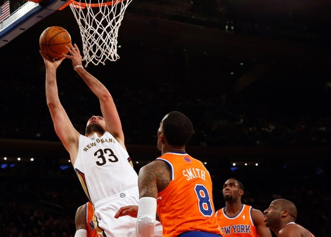 Dec 1, 2013; New York, NY, USA; New Orleans Pelicans power forward Ryan Anderson (33) shoots during the fourth quarter against the New York Knicks at Madison Square Garden. New Orleans Pelicans won 103-99.  Mandatory Credit: Anthony Gruppuso-USA TODAY Sports