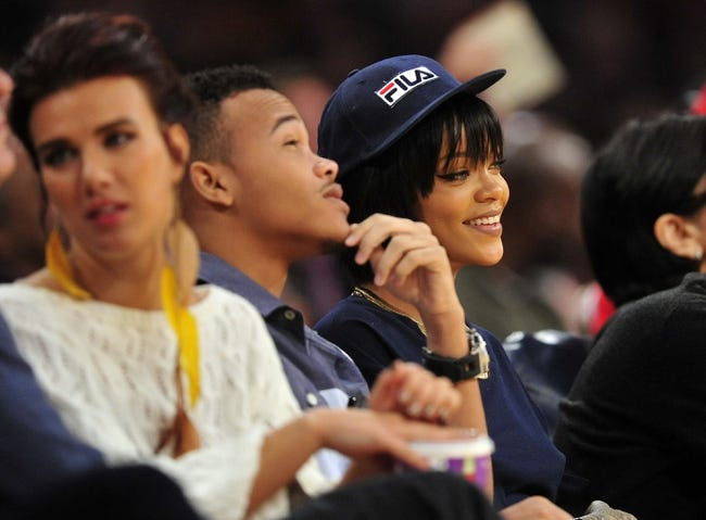 December 1, 2013; Los Angeles, CA, USA; Recording artist Rihanna in attendance  as the Los Angeles Lakers play against the Portland Trail Blazers during the second half at Staples Center. Mandatory Credit: Gary A. Vasquez-USA TODAY Sports