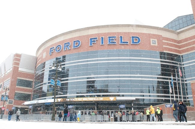 Nov 28, 2013; Detroit, MI, USA; A general view view of Ford Field before the game between the Detroit Lions and the Green Bay Packers during a NFL football game on Thanksgiving at Ford Field. Mandatory Credit: Tim Fuller-USA TODAY Sports