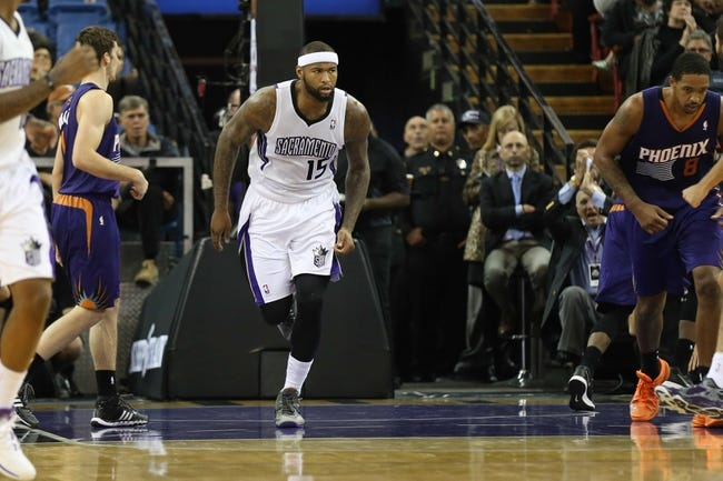 Nov 19, 2013; Sacramento, CA, USA; Sacramento Kings center DeMarcus Cousins (15) after a basket against the Phoenix Suns during the second quarter at Sleep Train Arena. Mandatory Credit: Kelley L Cox-USA TODAY Sports