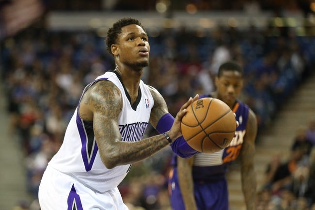 Nov 19, 2013; Sacramento, CA, USA; Sacramento Kings shooting guard Ben McLemore (16) shoots a free throw against the Phoenix Suns during the third quarter at Sleep Train Arena. The Sacramento Kings defeated the Phoenix Suns 107-104. Mandatory Credit: Kelley L Cox-USA TODAY Sports