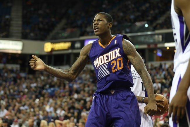 Nov 19, 2013; Sacramento, CA, USA; Phoenix Suns shooting guard Archie Goodwin (20) celebrates after a dunk against the Sacramento Kings during the second quarter at Sleep Train Arena. Mandatory Credit: Kelley L Cox-USA TODAY Sports