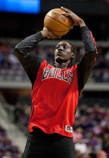 Nov 27, 2013; Auburn Hills, MI, USA; Chicago Bulls small forward Tony Snell (20) warms up before the game against the Detroit Pistons at The Palace of Auburn Hills. Bulls beat the Pistons 99-79. Mandatory Credit: Raj Mehta-USA TODAY Sports