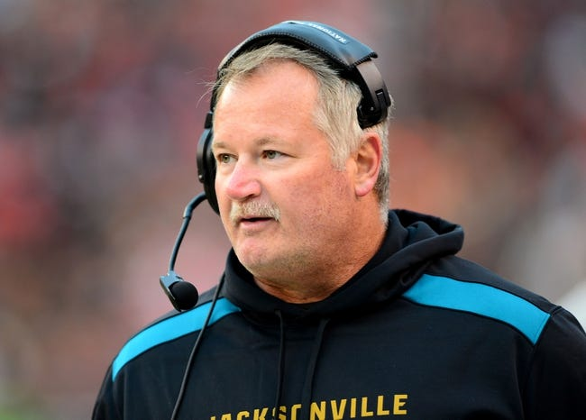 Dec 1, 2013; Cleveland, OH, USA; Jacksonville Jaguars offensive line coach George Yarno  against the Cleveland Browns at FirstEnergy Stadium. Mandatory Credit: Andrew Weber-USA TODAY Sports