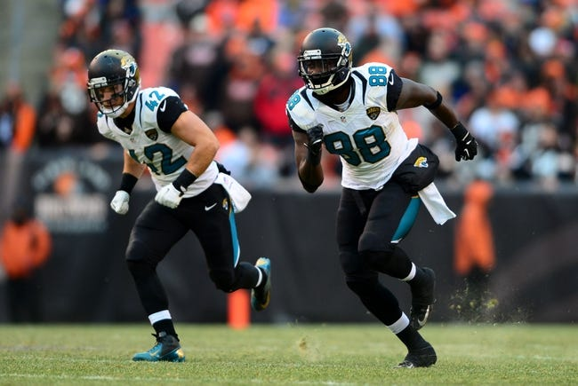 Dec 1, 2013; Cleveland, OH, USA; Jacksonville Jaguars free safety Chris Prosinski (42) and tight end Danny Noble (88) against the Cleveland Browns at FirstEnergy Stadium. Mandatory Credit: Andrew Weber-USA TODAY Sports