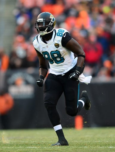 Dec 1, 2013; Cleveland, OH, USA; Jacksonville Jaguars tight end Danny Noble (88) against the Cleveland Browns at FirstEnergy Stadium. Mandatory Credit: Andrew Weber-USA TODAY Sports