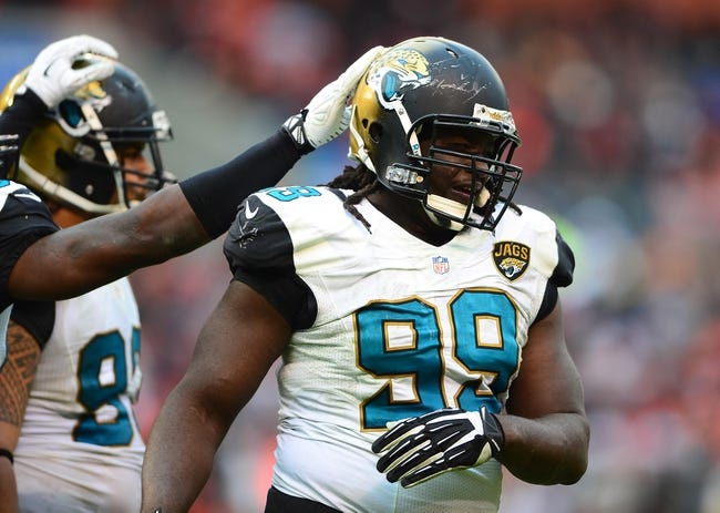 Dec 1, 2013; Cleveland, OH, USA; Jacksonville Jaguars defensive tackle Sen'Derrick Marks (99) against the Cleveland Browns at FirstEnergy Stadium. Mandatory Credit: Andrew Weber-USA TODAY Sports