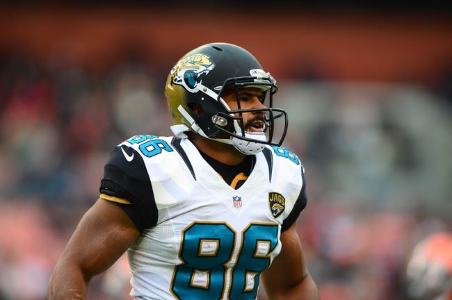Dec 1, 2013; Cleveland, OH, USA; Jacksonville Jaguars tight end Clay Harbor (86) against the Cleveland Browns at FirstEnergy Stadium. Mandatory Credit: Andrew Weber-USA TODAY Sports