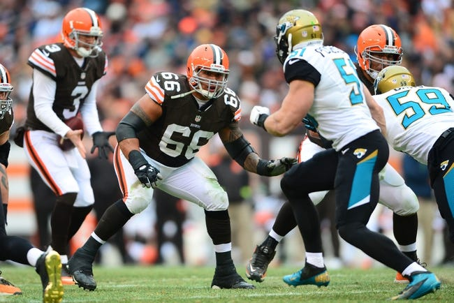 Dec 1, 2013; Cleveland, OH, USA; Cleveland Browns guard Shawn Lauvao (66) against the Jacksonville Jaguars at FirstEnergy Stadium. Mandatory Credit: Andrew Weber-USA TODAY Sports