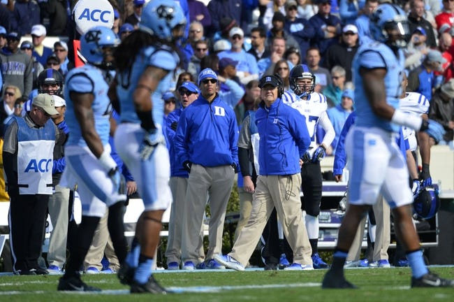 Nov 30, 2013; Chapel Hill, NC, USA; Duke Blue Devils head coach David Cutcliff on the sidelines in the first quarter at Kenan Memorial Stadium. Mandatory Credit: Bob Donnan-USA TODAY Sports
