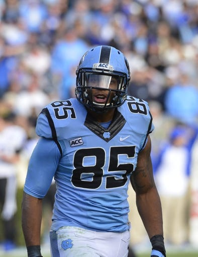 Nov 30, 2013; Chapel Hill, NC, USA; North Carolina Tar Heels tight end Eric Ebron (85) on the field in the third quarter. The Blue Devils defeated the Tar Heels 27-25 at Kenan Memorial Stadium. Mandatory Credit: Bob Donnan-USA TODAY Sports