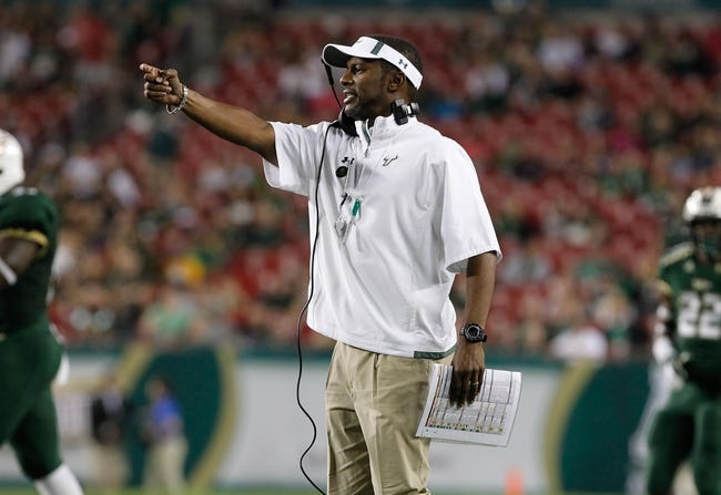 Nov 16, 2013; Tampa, FL, USA; South Florida Bulls head coach Willie Taggart against the Memphis Tigers during the second quarter at Raymond James Stadium. Mandatory Credit: Kim Klement-USA TODAY Sports