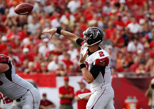 Nov 17, 2013; Tampa, FL, USA; Atlanta Falcons quarterback Matt Ryan (2) throws the ball against the Tampa Bay Buccaneers during the second half at Raymond James Stadium. Tampa Bay Buccaneers defeated the Atlanta Falcons 41-28. Mandatory Credit: Kim Klement-USA TODAY Sports