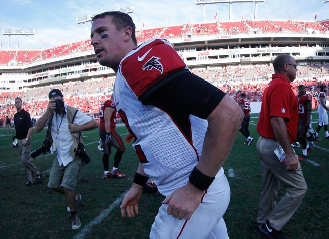 Nov 17, 2013; Tampa, FL, USA; Atlanta Falcons quarterback Matt Ryan (2) runs off the field at the end of the game against the Tampa Bay Buccaneers at Raymond James Stadium. Tampa Bay Buccaneers defeated the Atlanta Falcons 41-28. Mandatory Credit: Kim Klement-USA TODAY Sports
